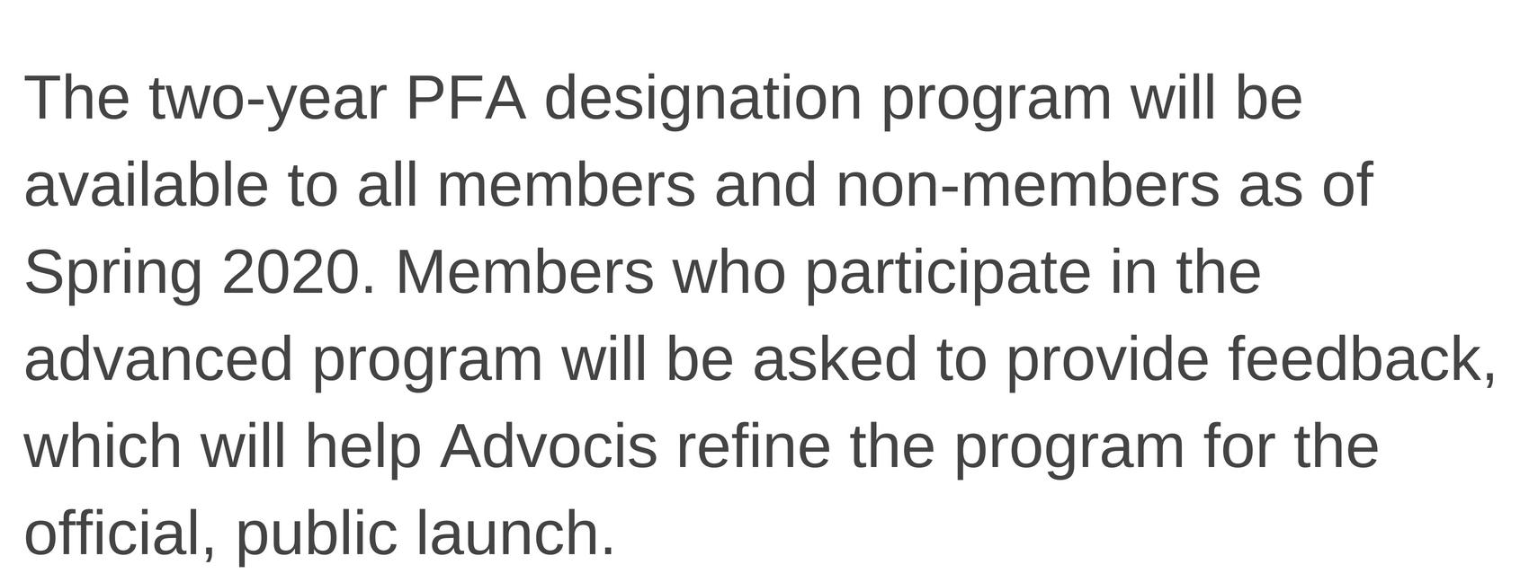 PFA Details continued